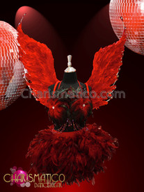 CHARISMATICO Red Burlesque showgirl's three piece feathered costume with beaded fringe