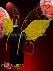 CHARISMATICO Yellow Gold Feather Accented Rhinestone Angel Butterfly Showgirl'S Wing