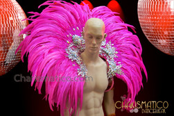 CHARISMATICO Showgirl'S Cabaret Silver Iridescent Rhinestone Accented Fuchsia Feathered Backpack Collar