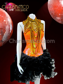 CHARISMATICO Orange sequin corset, black organza skirt, and brown gothic necklace