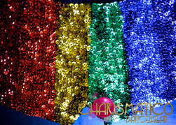 CHARISMATICO Rainbow Sequined Gay Pride Bra Top And Short Hot Pants