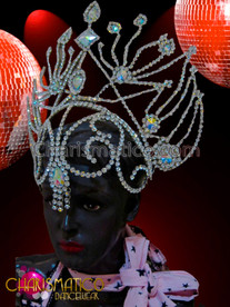 CHARISMATICO Diva showgirl's Streamlined openwork crystal rhinestone headpiece with iridescent crystals