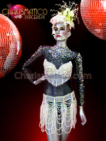 CHARISMATICO Sheer Crystal Accented Black Leotard, Crystal Bra And Belt Set
