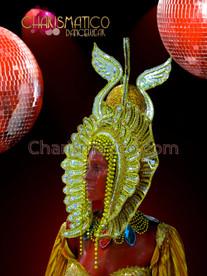 CHARISMATICO Elegant beaded golden pharaoh headdress with mirrors and iridescent crystals