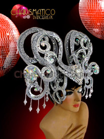 CHARISMATICO exotic silver sequined Diva's showgirl's headdress with snake like patterning