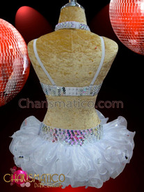 CHARISMATICO White Sequined And Beaded Go-Go Bra And Matching Tutu Skirt