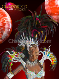CHARISMATICO Silver Glitter Based Drag Queen'S Gay Pride Rainbow Feathered Headdress