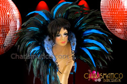 CHARISMATICO exotic snake skin blue and black feathered carnival cabaret backpack collar