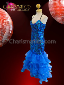 CHARISMATICO Royal Blue Sequined Mermaid Pageant Gown With Shimmering Organza Ruffles