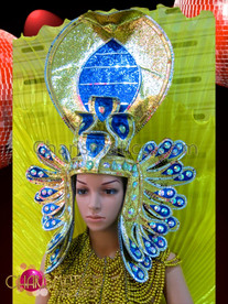 CHARISMATICO Blue and gold glitter and crystal Egyptian Pharaoh styled Diva's headdress