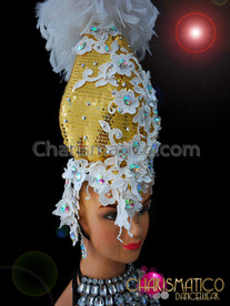 CHARISMATICO Showgirls floral appliqué headdress with white feathers and golden sequins