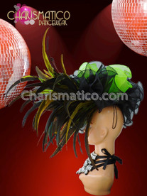 CHARISMATICO Asymmetrical Organza Ruffled Headdress In Green And Black With Feather Accents