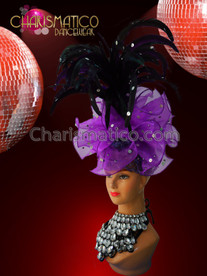 CHARISMATICO diva's asymmetrical purple organza ruffled headdress with black feather accents