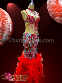CHARISMATICO Red Beaded Go-Go Bra And Skeleton Mermaid Skirt With Organza Ruffles