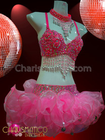CHARISMATICO Pink Beaded Go-Go Bra And Matching Beaded Organza Tutu Skirt