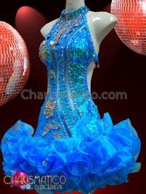 CHARISMATICO Cool Blue Ruffle Hem Sequined Dress With Silver Floral Patterning