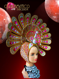 CHARISMATICO Silver Glitter Peacock Shaped Headdress With Golden Accents And Pink Crystals