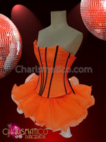 CHARISMATICO Back Laced Black Accented Orange Corset With Matching Organza Tutu