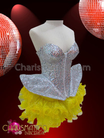 CHARISMATICO Lady Gaga Inspired Silver Sequined Corset With Polka-Dot Yellow Organza Tutu