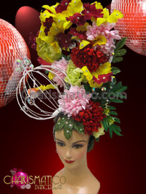 CHARISMATICO Diva'S Tall Yellow Iris And Carnation Flower Headdress With Birdcage
