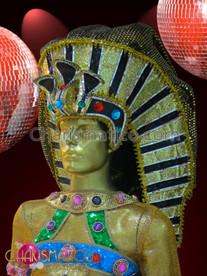 CHARISMATICO Crystal accented Dramatic golden sequined Egyptian pharaoh Drag Queen Headdress
