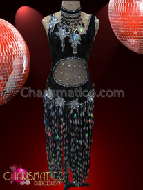CHARISMATICO Ornate Black And Silver Sequin Dress With Stomach Cutout And Fringed Skirt