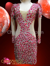 CHARISMATICO Diva'S Clever Illusion Cutout Crystal And Fuchsia Crystal Dance Dress