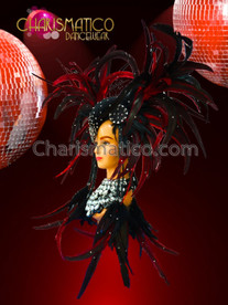 CHARISMATICO Red and black Drag Queen cabaret horn style feather headdress with crystals