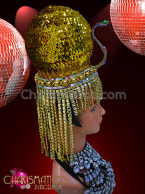 CHARISMATICO Circular Metallic Golden Sequined And Beaded Egyptian Pharaoh Diva'S Headdress