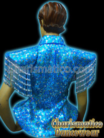 Blue Sequin Showgirl Diva Jacket