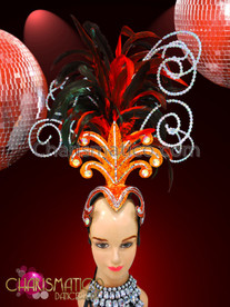 CHARISMATICO Orange red glitter based headdress with crystal bead swirls and dark red feathers