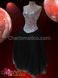 CHARISMATICO Sweet Two-Piece (Silver Sequin Corset And Black Organza Skirt) Ballroom Dress
