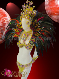 CHARISMATICO Rainbow Accented Golden Brazilian Samba Dancer Costume Set With Collar