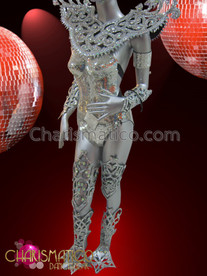 "CHARISMATICO Complete Swirled Styled Silver €Œdisco Ball"" Mirror And Crystal Costume Set"
