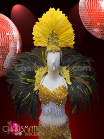CHARISMATICO Pearl Accented Yellow Feathered And Gold Pleated Satin Mermaid Burlesque Set