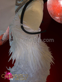 CHARISMATICO Angelic Silver Accented White Feather Corset And Tail-Skirt Costume Set