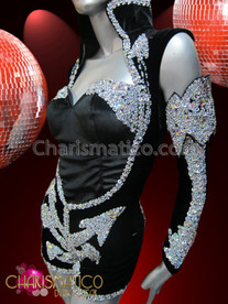 CHARISMATICO Silver Sequined Navy Leotard With Half Attached Sleeves Like Beyonce €Œhalo""