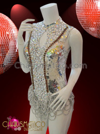 CHARISMATICO Zipper Back, Keyhole Silver Sequin Diva Leotard With Beaded Fringes