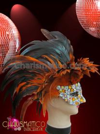 CHARISMATICO Onyx, Amber And Iridescent Rhinestone Crystallized Orange And Black Feather Mask