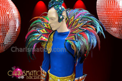 CHARISMATICO Exotic Gold and Red Unisex Geometric Rainbow Brazil Feather Backpack Collar