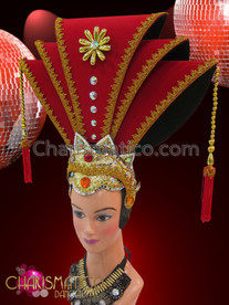 CHARISMATICO Jeweled Tall Red Chinese Emperor Oriental Headdress With Gold Trim