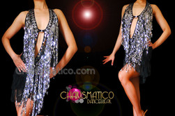 CHARISMATICO Halter Style Latin Fashion Silver Fluffy Sequin Fringe Dance Dress