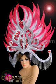 CHARISMATICO Large Fuchsia Accented Silver Glitter Diva Drag Queen Showgirl Headdress