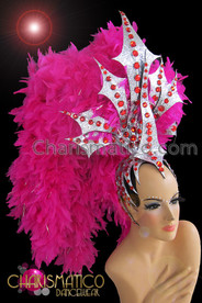 CHARISMATICO Silver Glitter And Ruby Accented Fuchsia Showgirl Feather Boa Headdress
