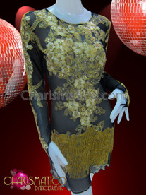 CHARISMATICO Gold Lace Accented Sheer Black Dress With Fingerless Attached Gloves