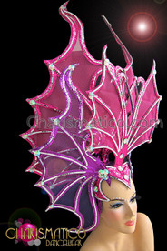 CHARISMATICO Mirror-Tile Adorned Pink Screen and Glitter Butterfly Fish Inspired Headdress