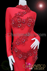 CHARISMATICO Mock Turtleneck Zipper Back Beaded Appliquã© Red Burlesque Diva'S Catsuit