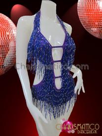 CHARISMATICO Sexy Cleavage Diva Showgirl's Royal Blue Beaded Latin Dance Leotard