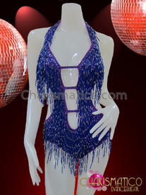 CHARISMATICO Sexy Cleavage Diva Showgirl'S Royal Blue Beaded Latin Dance Leotard