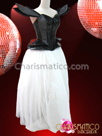 CHARISMATICO Futuristic Black Vinyl Gaga Corset and White Organza Ball Skirt